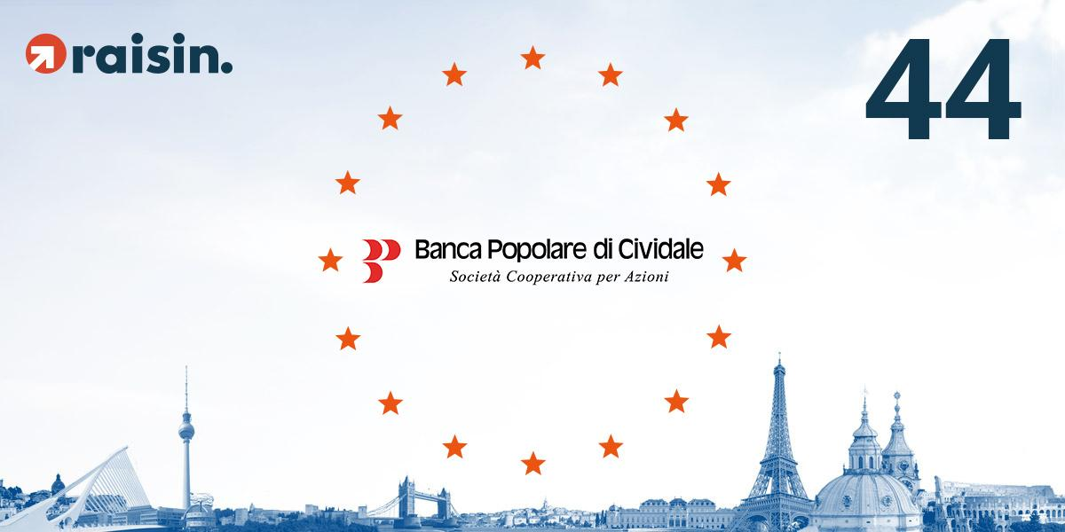 Banca Popolare di Cividale, Partner Bank Number 44, Is the Fourth Italian Bank to Launch on the Raisin Platform